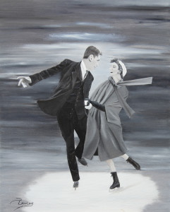 Amoureux sur patins - huile sur toile 24x30 - disponible