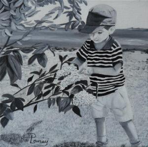 Grand jardinier Huile sur toile - 12 x 12 po - Vendue