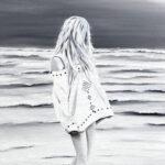 Sur la plage - Huile sur toile - 15 x 30 po - Vendue