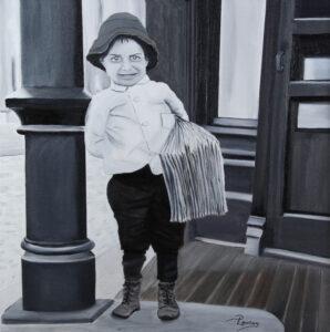 Le Livreur - Huile sur toile - 20 X 20 pouces - Vendue