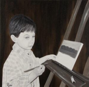 Mon Petit Peintre - Huile sur toile - 20 x 20 pouces - Disponible